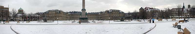 Voschau Panorama Stuttgart Schlossplatz Winter